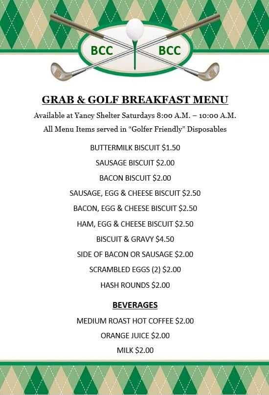 Grab And Golf Breakfast Menu