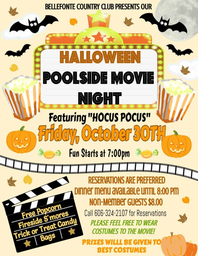 Halloween Poolside Movie Night